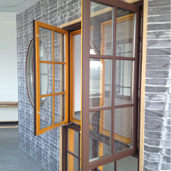 American Casement and Awning Window With Foldable crank handle,  Timber Window With Exterior Aluminum Cladding02
