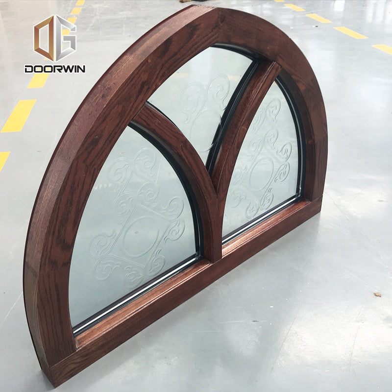fixed round American oak wood double pane glass window