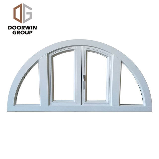 white stain finish color arched French push out window