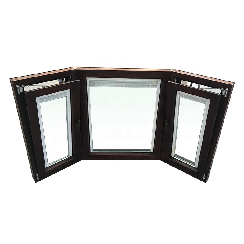new design aluminum wood casement bay window with double swing
