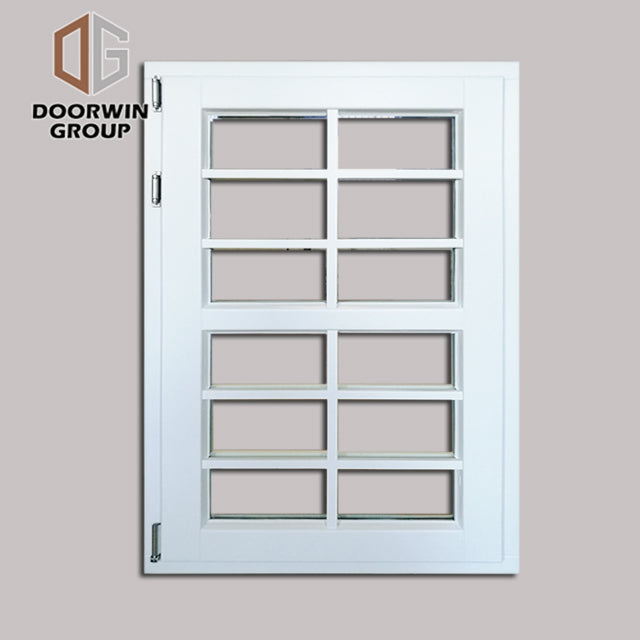 White stain finish color casement window with decorative grille