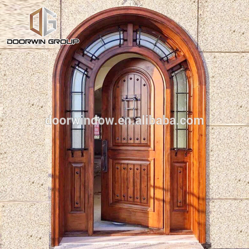 safety door design with grill Single entry wood doors arched french doors made of solid knotty alder by Doorwin