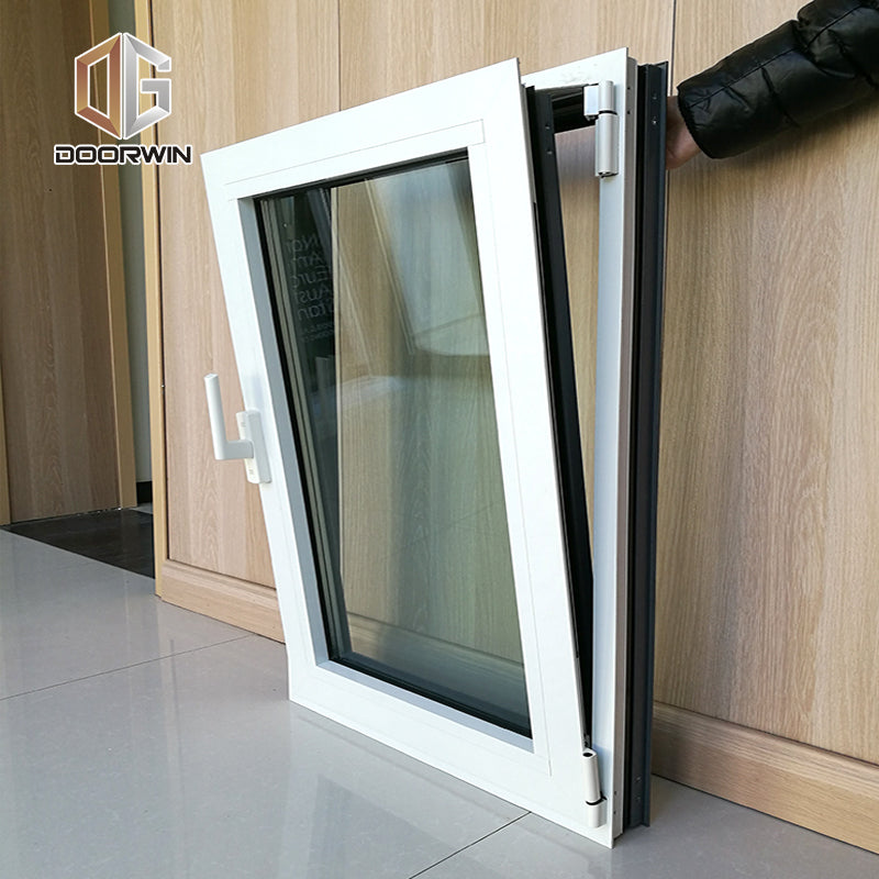 WHITE(interior) BLACK(exterior) THERMAL BREAK ALUMINUM  TILT TURN WINDOW with fixed mosquito net
