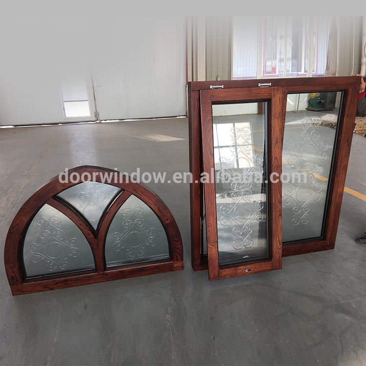 window frame with carved glass Cheap house oak wood windows for sale by Doorwin