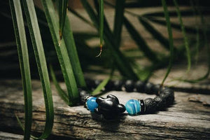 Foxfire Stones - Black Elastic Cord - Save The Ocean / Volcanic Rock And Blue Striped Agate Turtle Bracelet