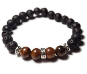 Foxfire Stones - Black Braided Elastic - Old Soul / Rosewood Wood & Volcanic Lava Stone Bali Bead Spacer Healing Stone Bracelet