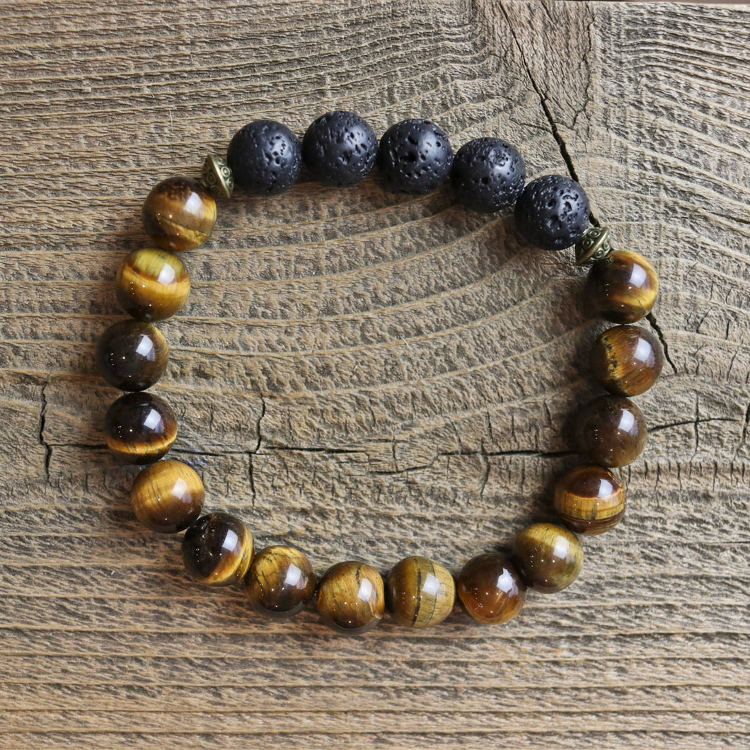 Love N' Lava Designs - Men's Tiger Eye Essential Oil Diffuser Bracelet