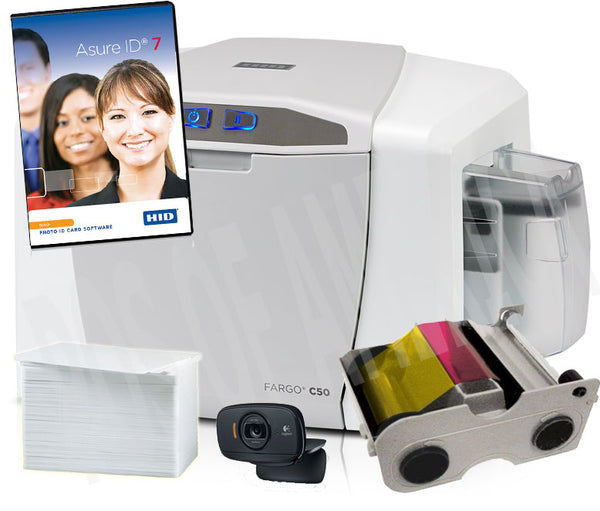 HID, FARGO KIT, SOLO, C50 SINGLE SIDED PRINTER, USB, ASURE ID SOLO SOFTWARE, USB CAMERA, 100 IMAGE COLOR RIBBON, 100 PVC CARDS, 2 YEAR ASURE ID PLAN 51701 - POS OF AMERICA