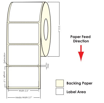"TM-C3500 2.5"" x 1.5"" High Gloss Paper Label 730/Roll 811034 - POS OF AMERICA"