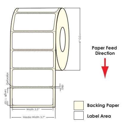 "TM-C3500 3.5"" x 1.125"" Matte BOPP Labels 850/Roll 814038 - POS OF AMERICA"