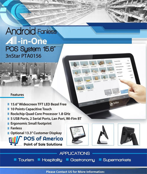 3nStar Android Fanless All-in-One POS System 15.6″ (PTA0156-28) - POS OF AMERICA