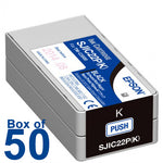 BOX OF 50 Genuine Epson SJIC22P (K) Black Pigment Ink Cartridge for TM-C3500 C33S020577 - POS OF AMERICA