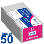Box of 50 Genuine Epson SJIC22P (M) Magenta Pigment Ink Cartridge for TM-C3500 C33S020582 - POS OF AMERICA