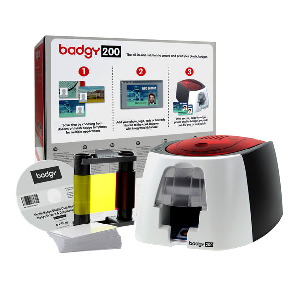 EVOLIS, BADGY200, CARD PRINTING SOLUTION, 1 BADGY200 PRINTER, SINGLE SIDED, 1 COLOR RIBBON FOR 100 PRINTS AND 100CT PVC CARDS(30MIL) WITH BADGE STUDIO+ SOFTWARE - POS OF AMERICA