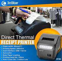 3nStar 80mm Direct Thermal Receipt Printer RPT005 USB SERIAL - POS OF AMERICA