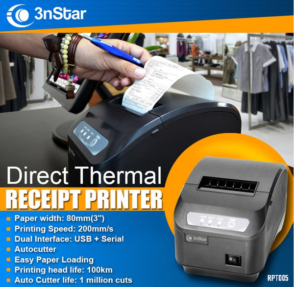 3nStar 3nStar 80mm Direct Thermal Receipt Printer RPT005 USB SERIAL - POS OF AMERICA