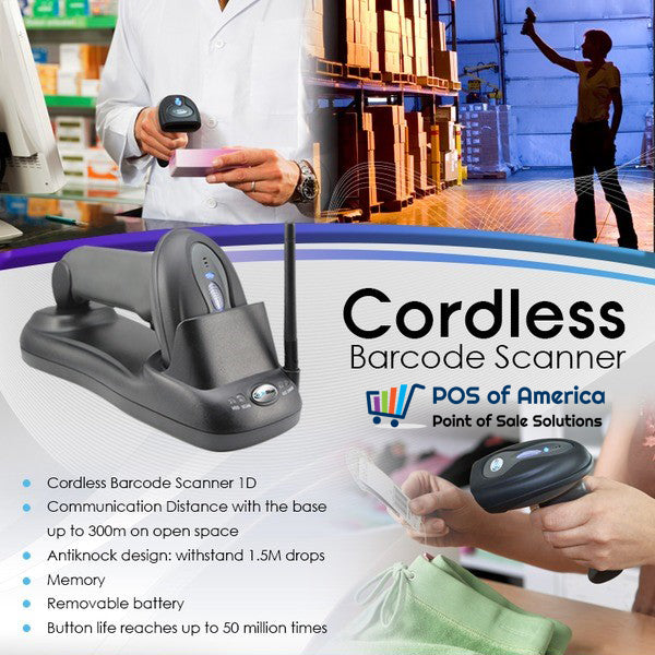 3nStar 1D Cordless Barcode Scanner SC300 - POS OF AMERICA