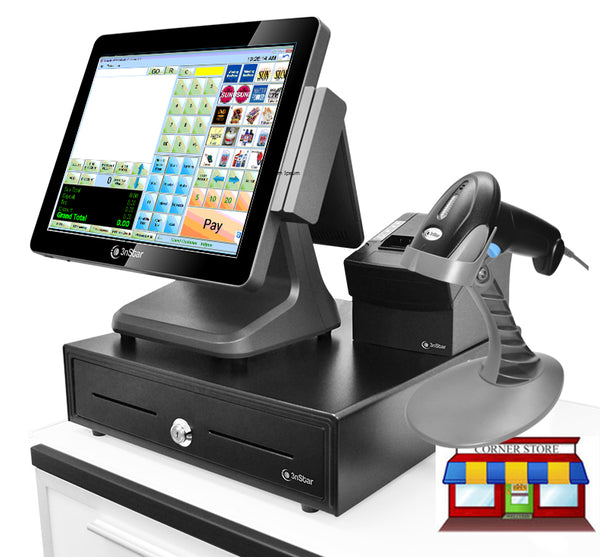 "3nStar All-In-One 15"" Touch Retail Terminal Bundle with Cornerstore POS - POS OF AMERICA"