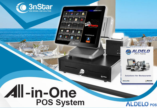 Aldelo 3nStar POS Bundle Celeron J1900 2.0GHz 4GB 120GB SSD Touchcomputer Windows 10 - POS OF AMERICA
