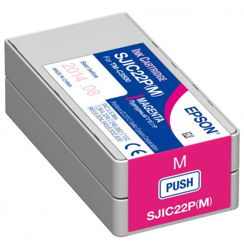 Genuine Epson SJIC22P (M) Magenta Pigment Ink Cartridge for TM-C3500 C33S020582 - POS OF AMERICA