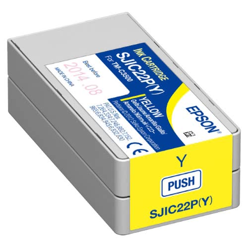 Genuine Epson SJIC22P (Y) Yellow Pigment Ink Cartridge for TM-C3500 C33S020583 - POS OF AMERICA
