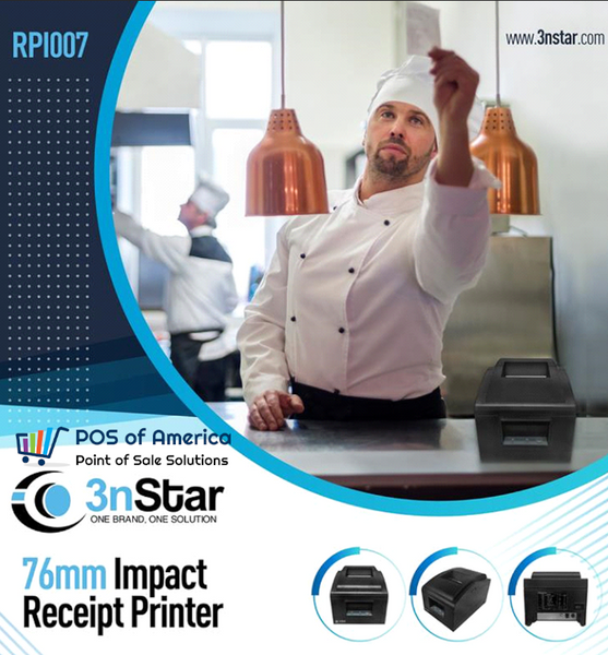 3nStar 76mm Impact Receipt Printer RPI007 4.5 lines per second - POS OF AMERICA