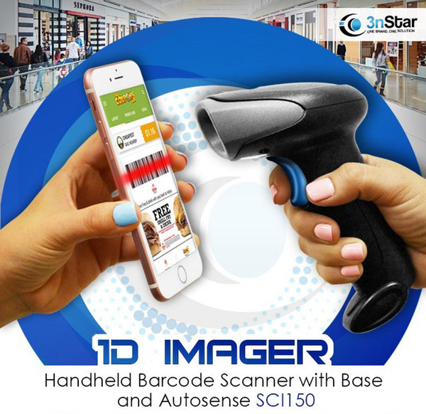 3nStar 1D Imager Handheld Barcode Scanner with Base and Autosense (SCI150) - POS OF AMERICA
