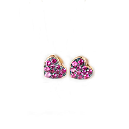 SMALL RUBY HEART EARRINGS