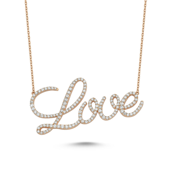 LOVE SCRIPT NECKLACE WITH WHITE DIAMONDS
