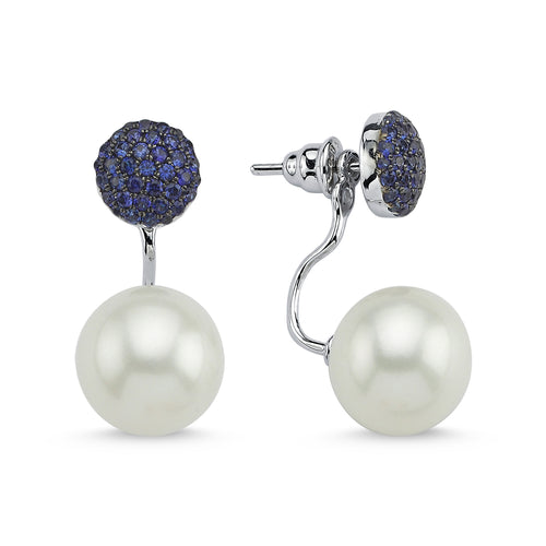 PEARL & BLUE SAPPHIRE EARRINGS