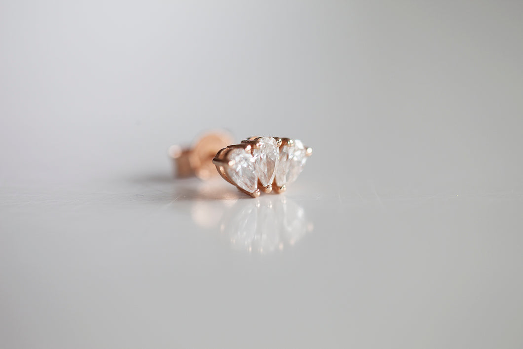 TRIPLE MARQUISE DIAMOND STUD