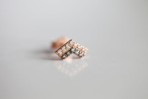 COGNAC & WHITE DIAMOND ARROW STUD