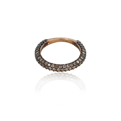 COGNAC DIAMOND PAVE RING HALF TURN
