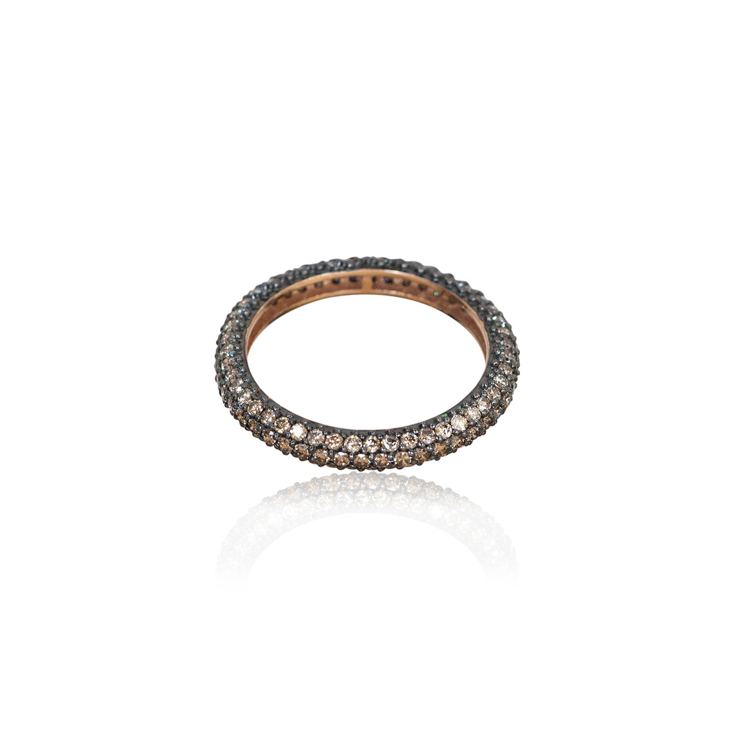 COGNAC DIAMOND PAVE RING FULL TURN