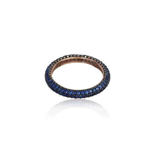 BLUE SAPPHIRE PAVE RING FULL TURN