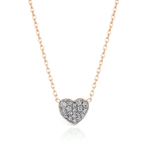 SMALL WHITE DIAMOND HEART NECKLACE