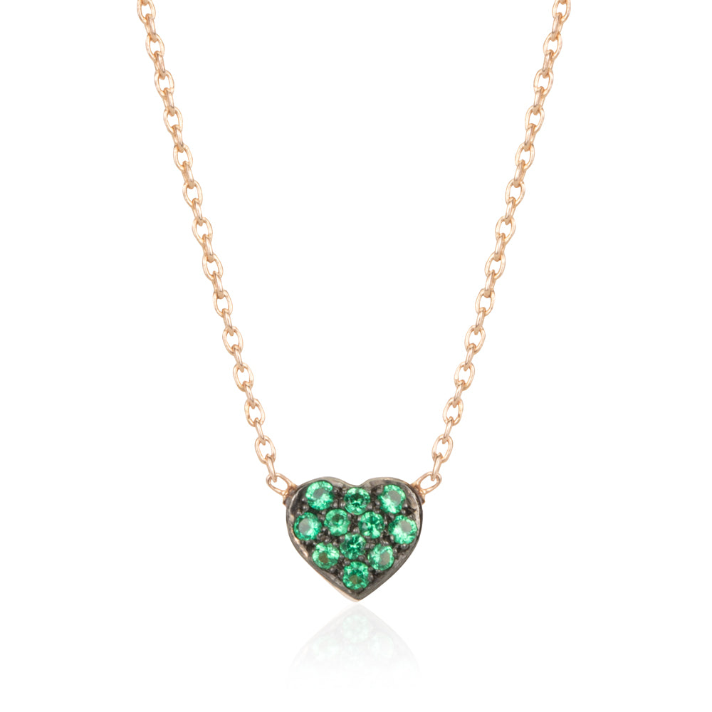 SMALL GREEN GARNET HEART NECKLACE