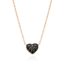 Load image into Gallery viewer, SMALL BLACK DIAMOND HEART NECKLACE