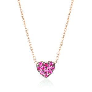 SMALL RUBY HEART NECKLACE