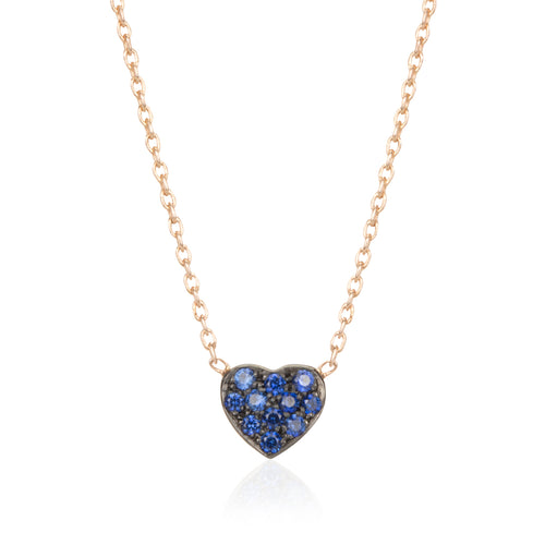SMALL BLUE SAPPHIRE HEART NECKLACE