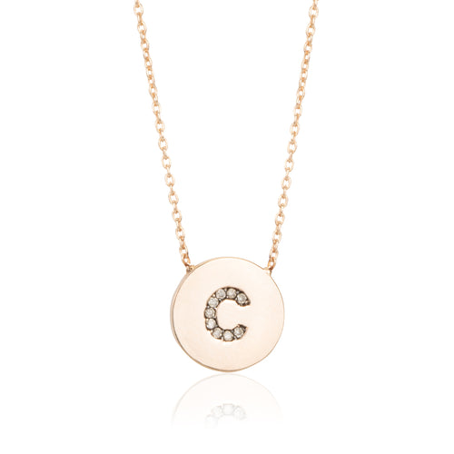 JE SUIS DIAMOND DISC INITIAL NECKLACE