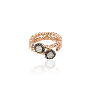 DOUBLE PAVE RING WITH BLACK & WHITE DIAMONDS