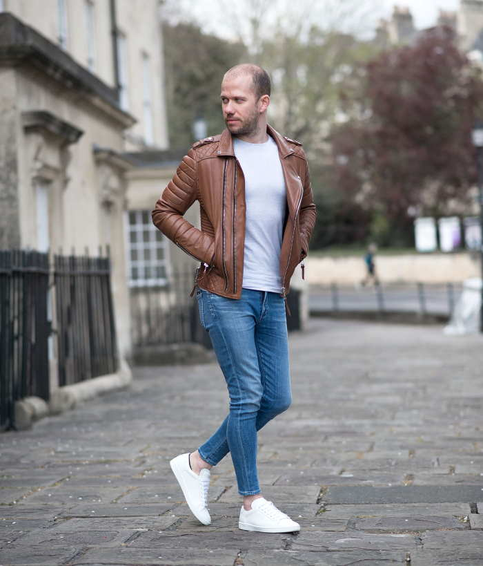 Skinny Jeans with a biker jacket