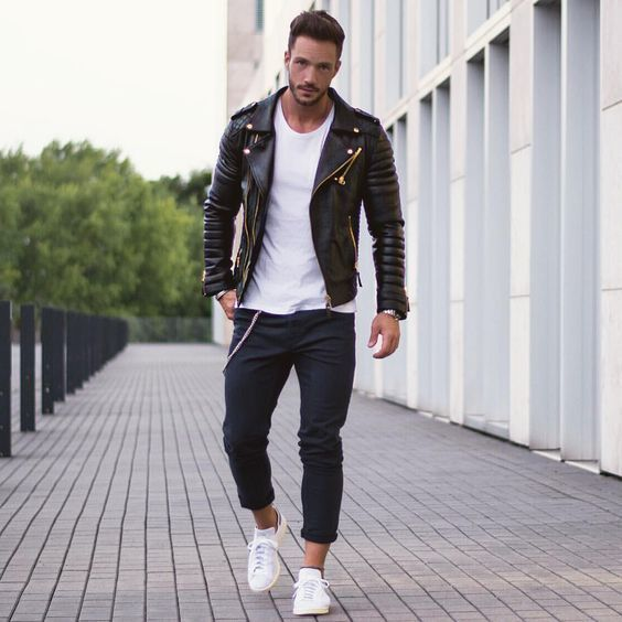 biker jacket with Sneakers