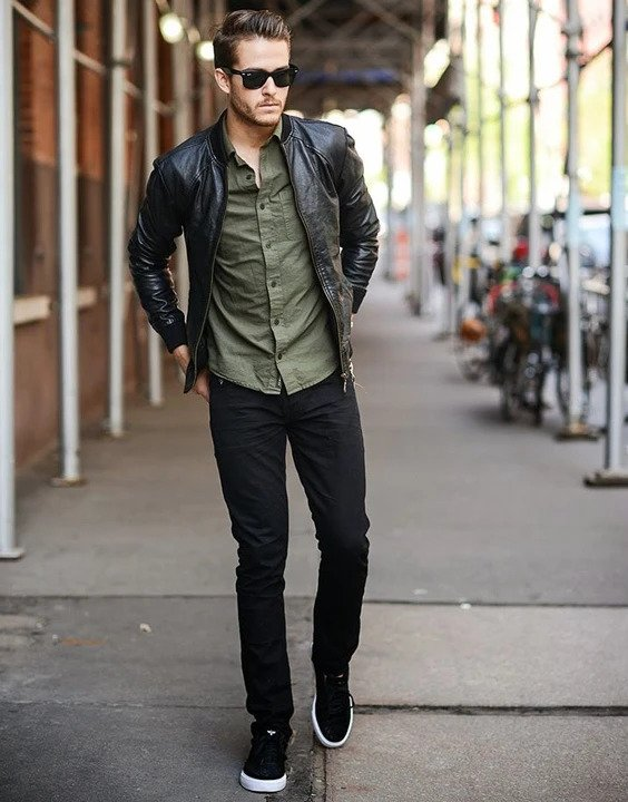black leather bomber outfit