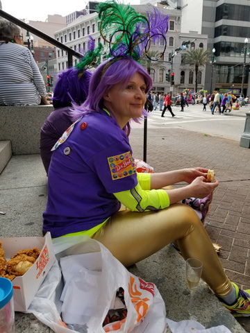 Having a Popeye's picnic on the foot of Canal St