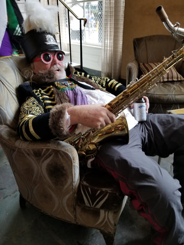 Tired Musician in the Royal Sonesta, Mardi Gras Day