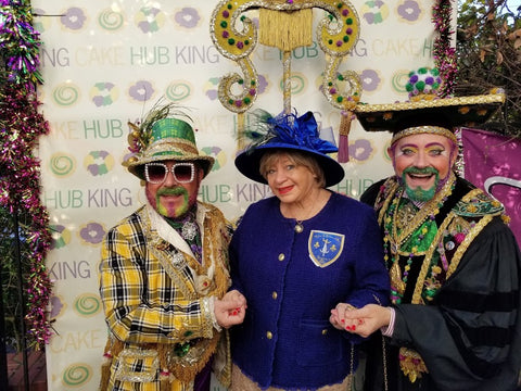 Grand Marshal Marty Graw, Social Butterfly Margarita Bergen, and Professor Carl Nivale celebrate Kings Day
