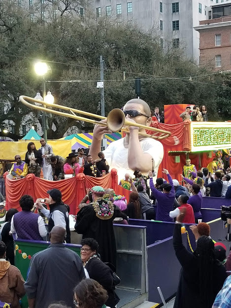 Trombone Shorty float debuts during Krewe of Freret, 2020
