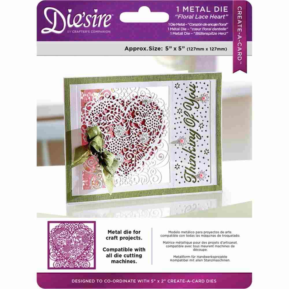 Die'sire Floral Lace Heart Create-a-Card 5x5 Metal Dies
